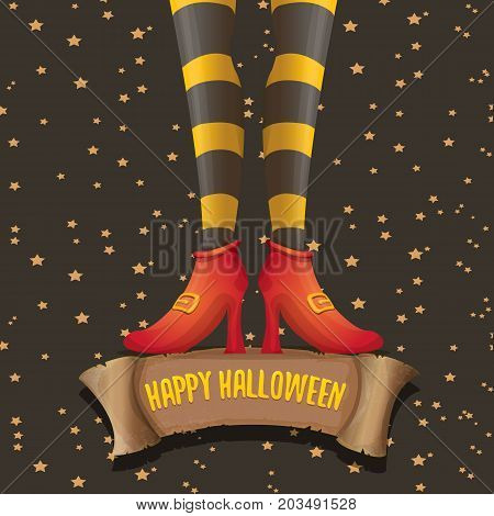 vector halloween party poster with witch legs and vintage ribbon with text happy halloween on brown background . girls legs with stripped stockings and shoes.