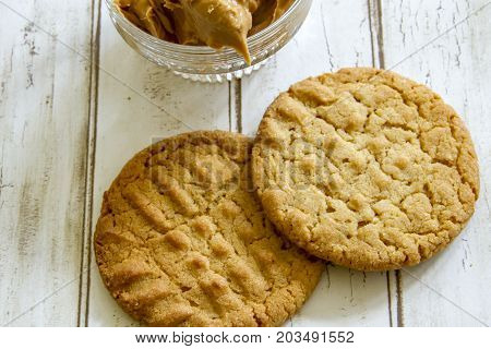 Fresh Baked Peanut Butter Cookies With Peanut Butter