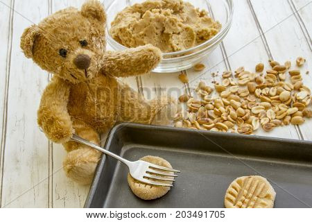 Teddy Bear Baking Cookies
