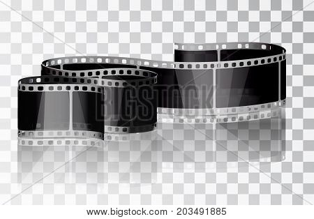 Bundle film on a transparent background. Isolated object. Cinema film. Vector illustrations. Realistic 3D film. Curved film.