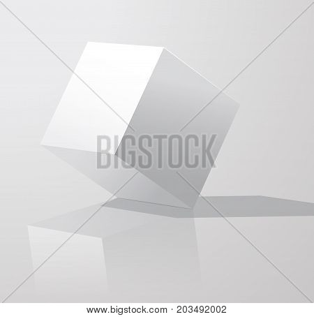 White Cube With Shadows, Isolated On White Background. Cube Turned Onto Their Side. . Vector Art