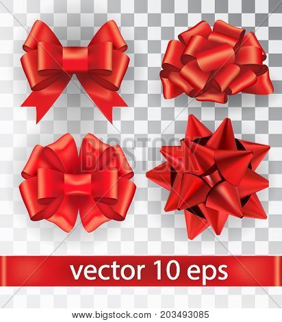 Set Of Red Bows Isolated On A Transparent Background