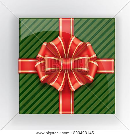 Green Gift Box With A Red Bow Top View. Vector Realistic Object. Christmas Colors
