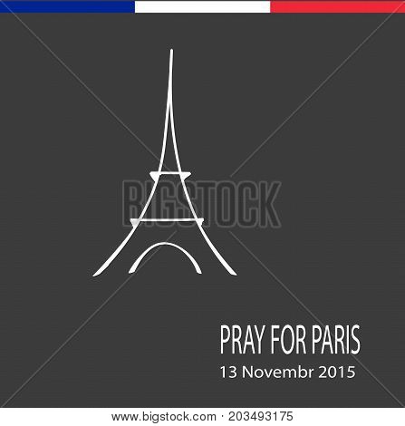 Freehand sketch illustration of pray hands and Eiffel Tower , doodle hand drawn, Peace for Paris, Pray for Paris