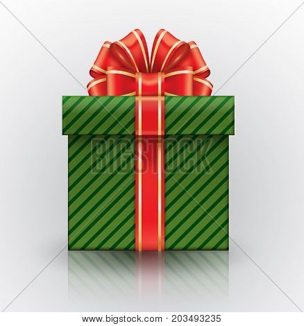Green Gift Box With A Big Red Bow. Realistic Vector Object Isolated On White Background.
