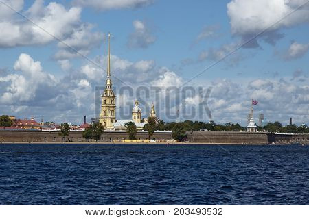 Peter and Paul Fortress in St. Petersburg Russia with Peter and Paul Cathedral. The citadel founded by Peter the Great in 1703 is a symbol of St.Petersburg