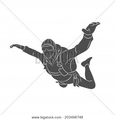 Silhouette skydiver on a white background. Vector illustration.