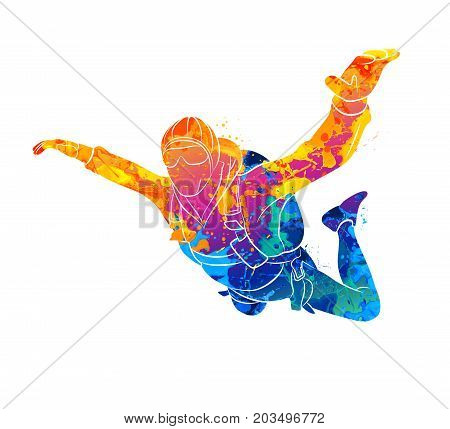 Abstract skydiver from splash of watercolors. Vector illustration of paints.