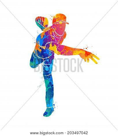 Abstract baseball player hitting the ball from splash of watercolors. Vector illustration of paints.