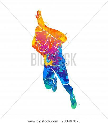 Abstract runners on short distances sprinter from splash of watercolors. Vector illustration of paints.