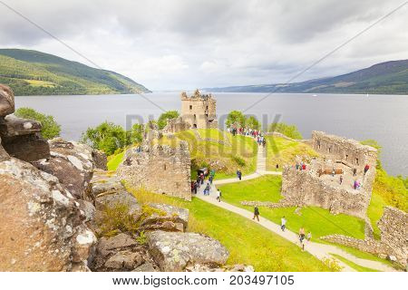 Loch ness - August 2014 loch ness scotland the famous urquhart castle In summer it is a must for all tourists visiting Scotland and at the same time looking for the famous monster