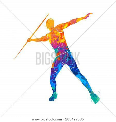 Abstract Javelin Thrower from splash of watercolors. Vector illustration of paints.