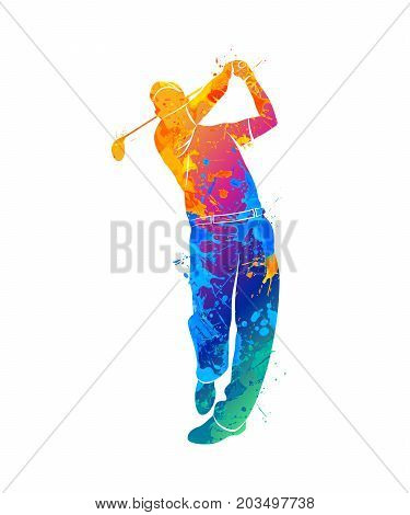 Silhouette golf player from splash of watercolors. Vector illustration of paints.