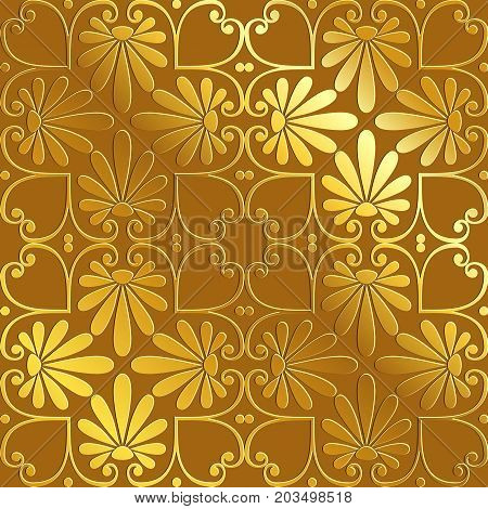 Seamless cute Golden Greek floral pattern, endless texture for wallpaper or scrap booking