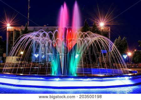 A beautiful illuminated city fountain Flower of a tulip at night. View of the town Pokrov in Ukraine, 2017
