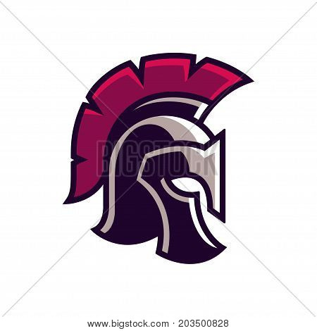 Gladiator helmet logo or icon. Greek Spartan warrior armor in cartoon comic book style vector illustration.