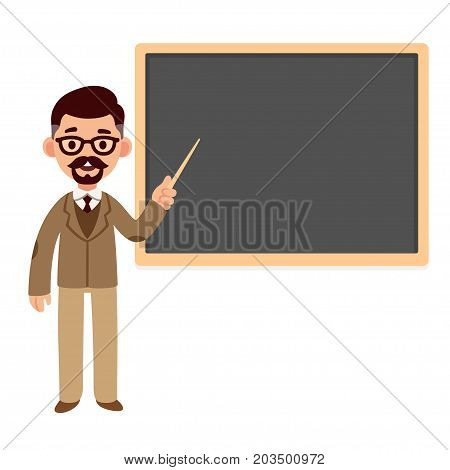 Middle aged professor standing in front of blackboard. School teacher or college and university lecture. Cartoon vector character.