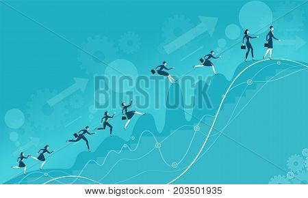 Lots of young business woman running and jumping over the mountains peaks on the way to the best professional position. Business concept illustration.