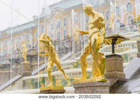 Grand Peterhof Palace And The Grand Cascade, Saint Petersburg, Russia