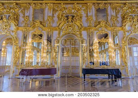 Interior Of Catherine Palace, A Rococo Palace In Tsarskoye Selo, Saint Petersburg, Russia