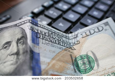Online Money With Hundred In Front Of Computer Keyboard High Quality
