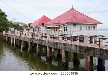 Residential seaside in ThailandSeaside resort or Beach house in day time.