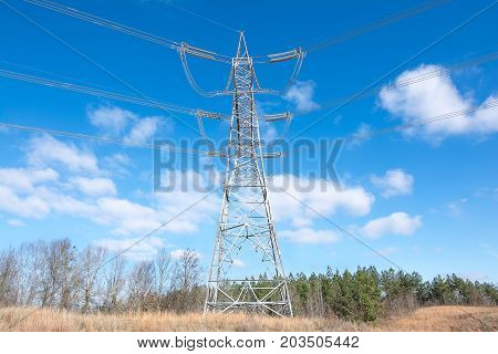 These pylons support high voltage power lines for transporting electrical power from the power plant to the customer.