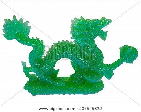 Jade Dragon Sacred Animal isolated on white background.