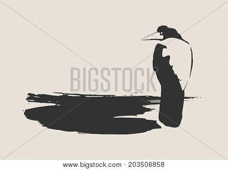 Illustration of the black raven bird sitting on brush stroke. Vector art.