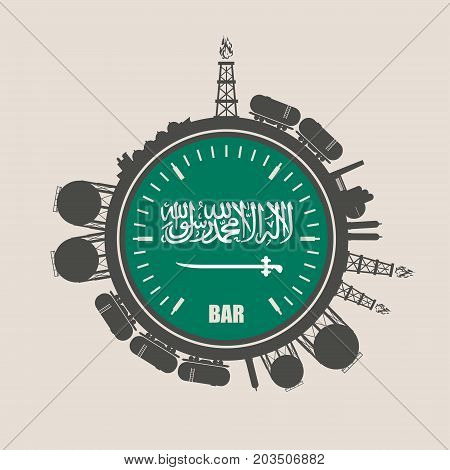 Circle with energy relative silhouettes. Design set of natural gas industry. Objects located around the manometer circle. Flag of the Saudi Arabia