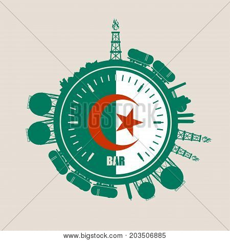 Circle with energy relative silhouettes. Design set of natural gas industry. Objects located around the manometer circle. Flag of the Algeria
