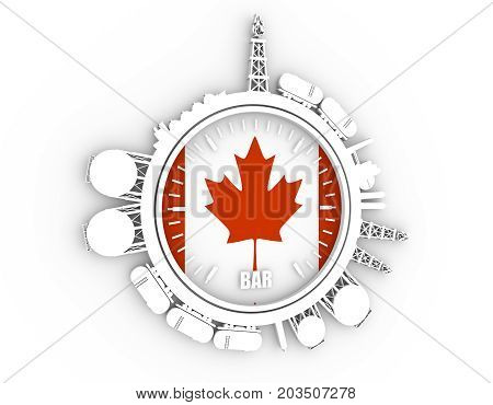 Circle with energy relative silhouettes. Design set of natural gas industry. Objects located around the manometer circle. 3D rendering. Flag of the Canada