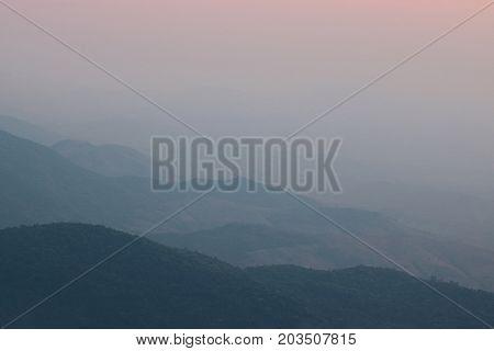 Beautiful twilight sunset landscape over mountain at Doi Inthanon Chiang Mai Thailand.