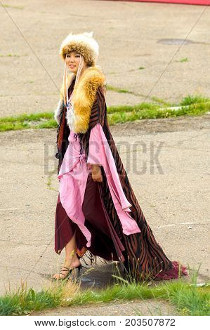 Naadam Festival Opening Ceremony Woman Fur Robe