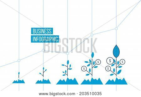 Green tree with leaf growth diagram. Business cycle development, finance, investment. Business investment growth concept. Vector illustration isolated on white background.