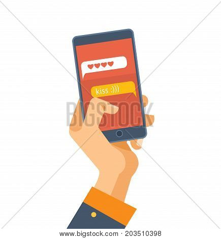 Hand holds the smartphone. Mobile applications. Sending messages and smiles in the messenger, SMS message, e-mail. Vector illustration isolated on white background.