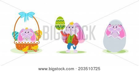 Cute rabbit in a beautiful decorative basket, a rabbit in a beautiful suit with a dyed egg in his hand, a rabbit from an egg. Vector illustration isolated for the holiday of Easter.