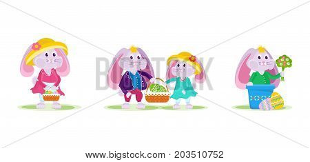 Happy Easter cards. Fine hares, a hare gives a bouquet to another, a pair of hares with a basket in hands, a beautiful hare. Vector illustration isolated for the holiday of Easter.