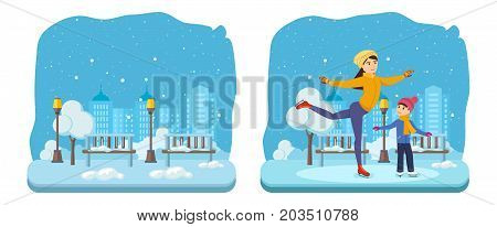 Evening winter snow-covered park of rest and entertainment. Kids favorite winter activities. Boy with mom, in winter clothes, ride on ice in good mood. Vector illustration isolated in cartoon style.