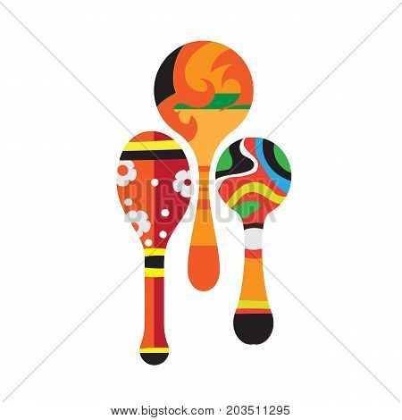 Carnival, masquerade, party and festive accessories. Festive musical instrument in the form of beautiful, decorative, maracas. Vector illustration isolated on white background.