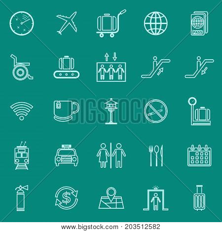 Airport line color icons on green background, stock vector