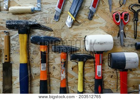 Set Of Hand Tools For Work In The Workshop