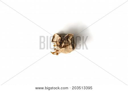 Crumpled paper ball on a white background.