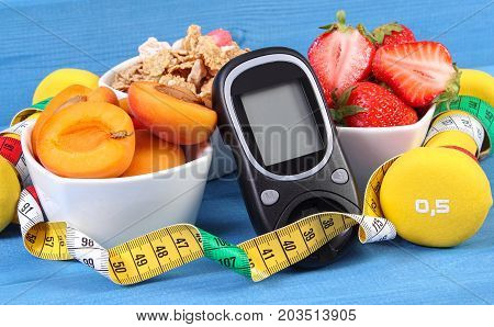 Glucometer, Healthy Food, Dumbbells And Centimeter, Diabetes, Healthy And Sporty Lifestyle Concept