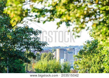 Northampton UK - Aug 15 2017: Cloudy Day Cityscape View of Northampton UK.