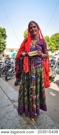 Portrait Of An Indian Woman On Street