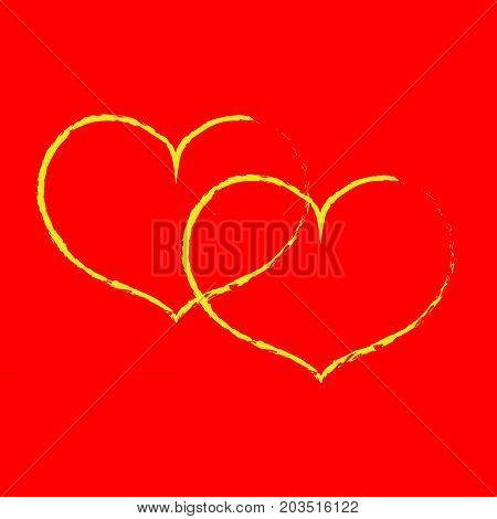 Sign yellow double heart. Image of love. Yellow icon isolated on red background. Colorful romantic symbol. Logo for passion. Light health content. Mark of Valentine. Stock vector illustration
