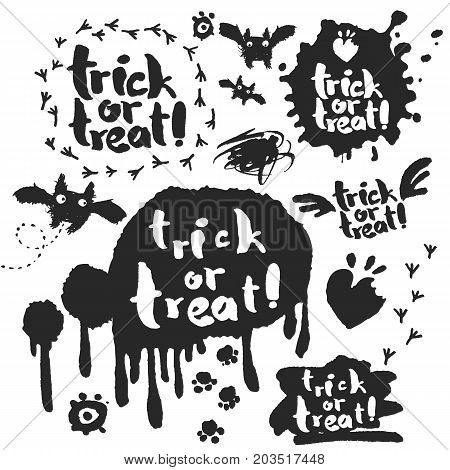 Trick or Treat. Halloween doodle designs ink and brush set with hand drawn sketches and calligraphy slogans. Isolated on white background. Clipping paths included.