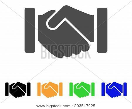 Agreement Handshake icon. Vector illustration style is a flat iconic agreement handshake symbol with black, gray, green, blue, yellow color versions. Designed for web and software interfaces.