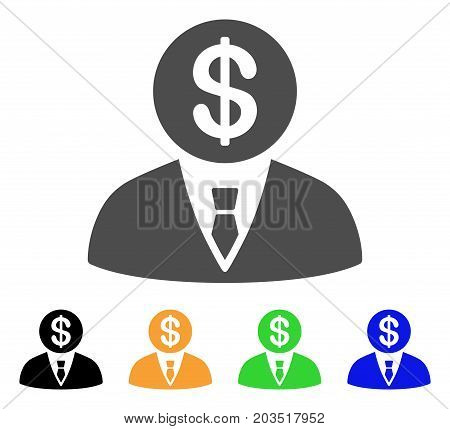 Banker icon. Vector illustration style is a flat iconic banker symbol with black, gray, green, blue, yellow color variants. Designed for web and software interfaces.